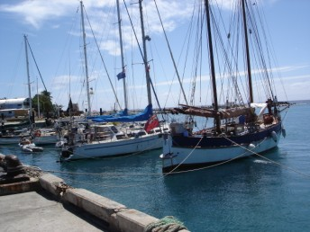 Moored stern-to in Rarotonga harbour