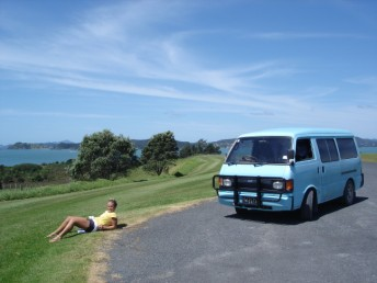 Enjoying the freedom of the open road near Opua