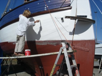 Jay busy painting the topsides