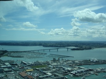 Auckland harbour bridge from the Sky Tower