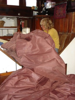 Emergency repairs to the staysail