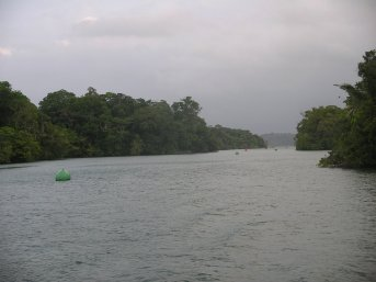 Channel through the Gatun lake