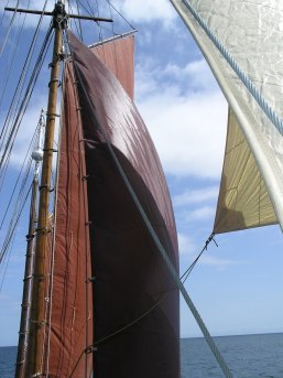 Under full sail - above