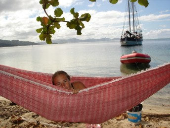 Merryn relaxing in a hammock