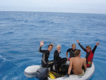 Setting off to dive on the reef