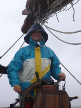 Cees in his wet weather gear