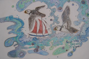 Puffins fly the waves, by KL