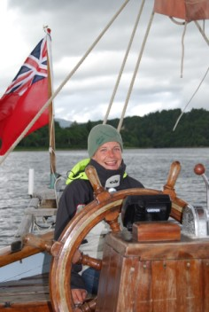 Clare at the helm