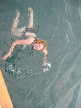Katharine in the icy water