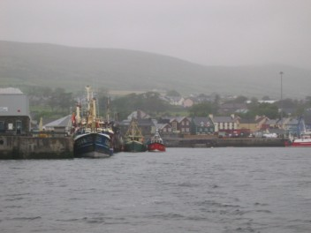 Looking back to Dingle through the rain