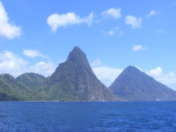 Famous piton rising up on W coast of St Lucia