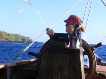 Fiona at the helm